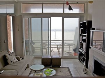 Marina del Rey condo rental - Living Room and Beachfront Patio with Ocean View.