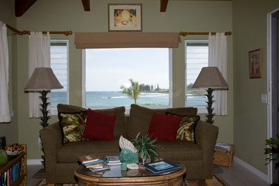 Cottage living room and view