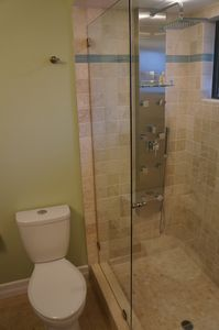 Newly remodeled shower, with full body shower with 6 body jets and rain shower