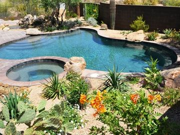Boulders Scottsdale house rental - Private back patio, beautifully landscaped with pebble tec pool and spa.