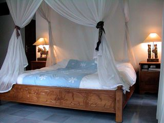 Sanur house photo - Master bedroom with teak bed and full mosquito net.