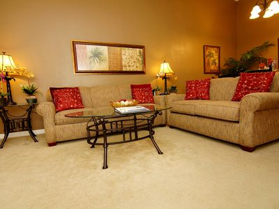 Cozy & comfortable living for our guests to relax after a long day at the park
