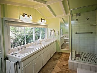 Carmel cottage photo - Upstairs bathroom with double sinks, separate shower and tub.