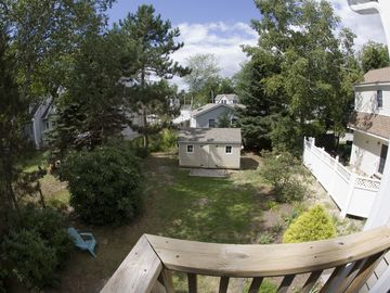 Back Yard viewed from Upstairs Masterbedroom Balcony Deck