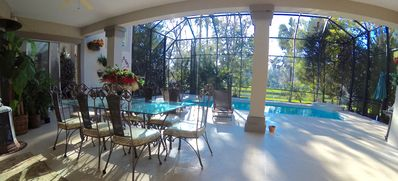 Patio and Double height-screened Pool