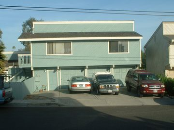 San Clemente townhome rental - Street view- Rental is the entire 2nd floor above garages, stairs on left
