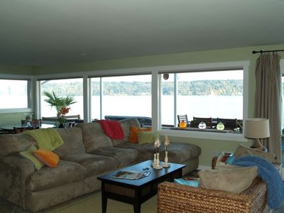 Great room looking at a portion of the 180 degree view - Vashon Island view