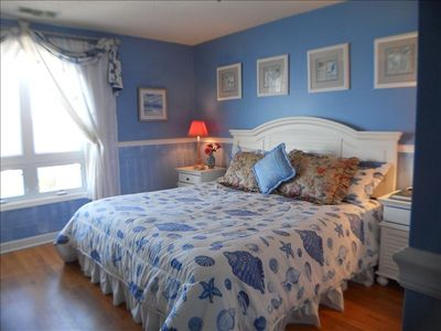 Master Bedroom with King Size bed plus TV and VCR offers ocean view