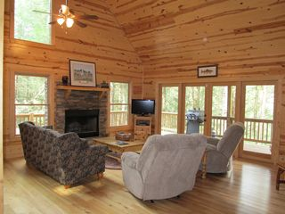 Ellijay cabin photo - Beautiful, Comfortable Family room on Main Level by the Wood Burning Fireplace!