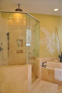 Master Suite #1 Bath with Jacuzzi Tub and Rain Shower Head