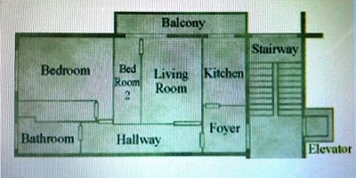 This floor-plan shows the layout of the condominium,balcony,stairs, and elevator