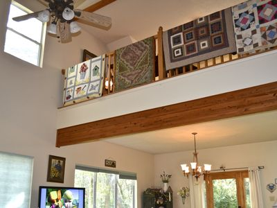 Bastrop cottage rental - Gracious open loft above the dining, and great room.