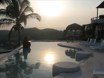 community pool area at sundown