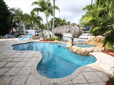 Tropical Heated Pool Spa with Swim-up Table, Tiki Hut and Dock for Your Boat!