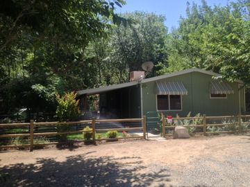 Kernville house rental - FRONT OF HOUSE, FENCED YARD