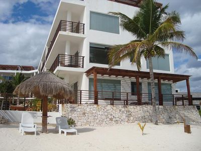 Puerto Morelos condo rental - View from the beach. Condo is 2nd Floor, beachfront.