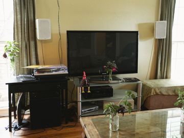 Surround sound stereo, digital cable, wireless internet and Apple TV