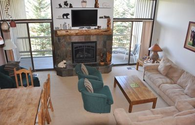 Steamboat Springs condo rental - Living Room. Balcony outside sliding doors with view of Yampa Valley
