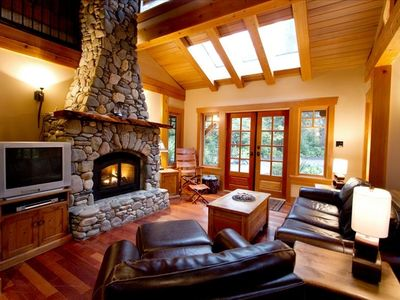 Living Room with beautiful stone fireplace