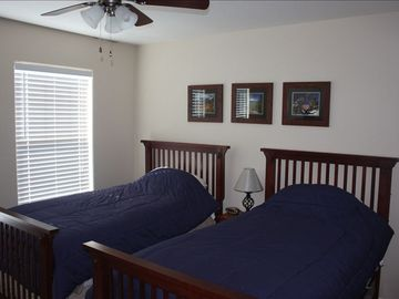 Bedroom 2 - twin beds, views of the mountians