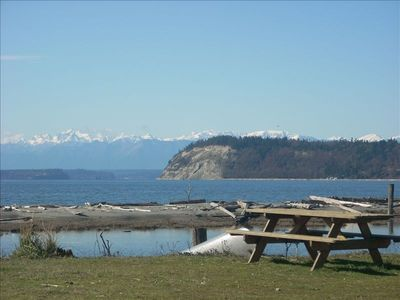 View of Double Bluff and the Olympic Mountains from the community area