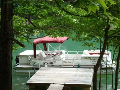 Our Pontoon Boat which you may use while renting our home.