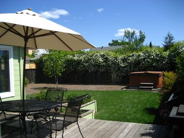 Sonoma house rental - Back deck, hot tub, and garden