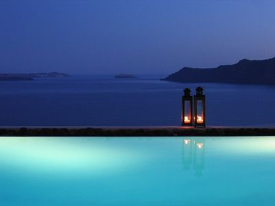 Oia villa rental - Early evening by the pool, when everything takes a shade of blue