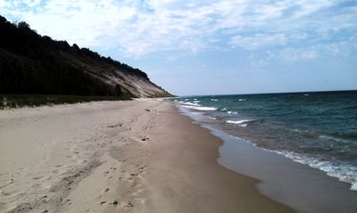 Semi-private beach along Lake Michigan/ Arcadia Bluff golf course.