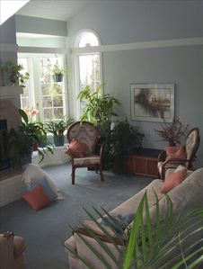 Living Room is Sunny all year round, w/views of forest, ocean, mountains