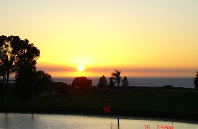 Waikoloa Village condo rental - Sunset from the lanai overlooking golf course and ocean