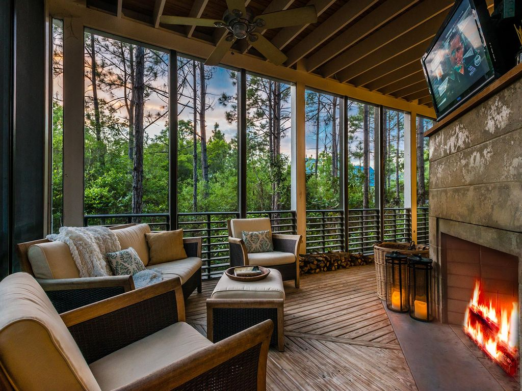 Screened Porch With Fireplace And Flat Screen Vrbo