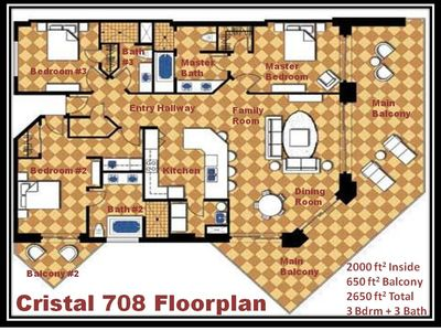 Cristal 708 spacious floorplan includes 2 balconies right over the beach!