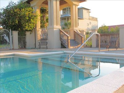 The pool is right outside the front door. Great for family gatherings,also.