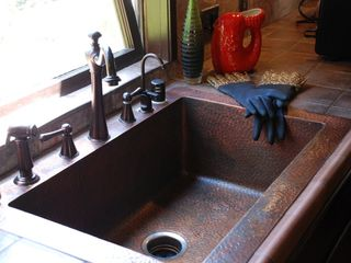 Beverly Hills house photo - Copper Farmer's Sink in Kitchen.