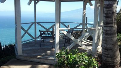gazebo off the back yard overlooking the Pacific Ocean and Haleakala Mountain.