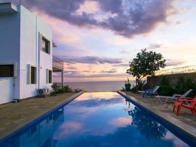 Infinity pool at sunset- 4m x 12m-on a cliff overlooking the Pacific Ocean