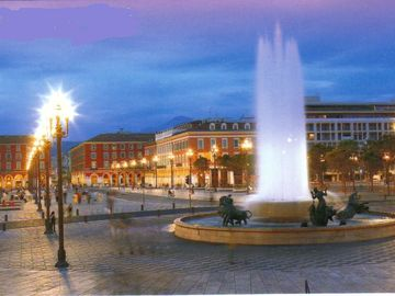 Newly landscaped Place Massena pedestrianised area