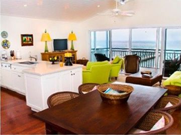 Captiva Island apartment rental - Open concept living dining kitchen area overlooking pool and ocean