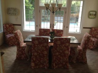 East Hampton house photo - Dining room with French doors facing outdoors.