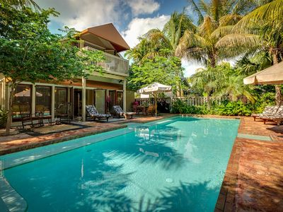 Key West house rental - The heated pool is one of the biggest you'll see in a vacation home.