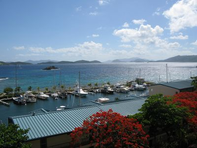 View from our balcony of St John and Tortola