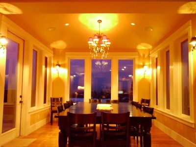 Elegant Dining w/ Table for 12, Views Abound, French Door to Deck and Gas Grill.