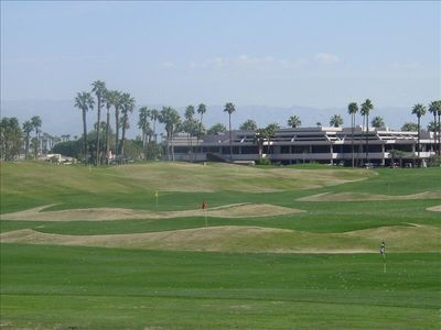 View of the golf course and clubhouse