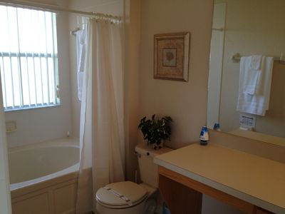 Master Bath with Garden tub. All towels included and hairdryers as well.