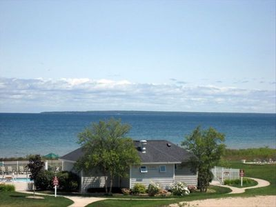Pool and view of Lake Huron