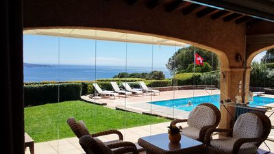 Côte d'Azur, Villa, top sea view, 3 DSZ, 2 bathrooms, 3 WC, to 6 persons. Private pool