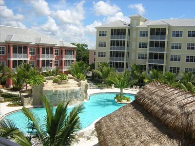 Bonita Springs condo rental - View of resort pool & waterfall from Dining room