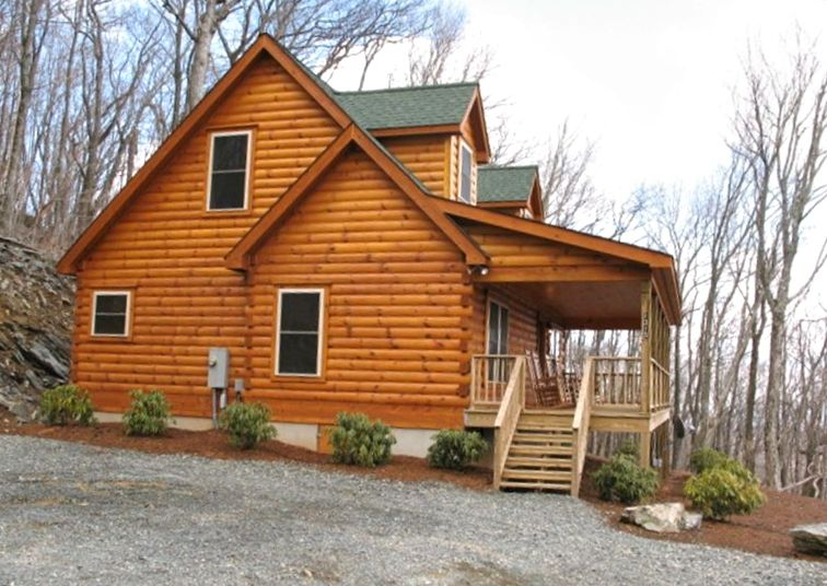 Secluded log cabin awesome view hot tub vrbo for Log cabin with hot tub one night stay