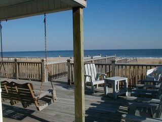 Kure Beach house photo - Huge Oceanfront Deck/Swing/Walkway